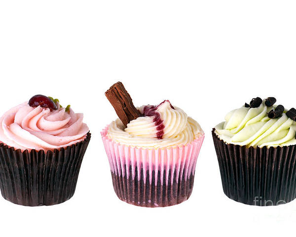 Appetizing Poster featuring the photograph Three Cupcakes by Jane Rix