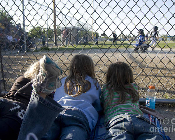 Horizontal Poster featuring the photograph Three Girls Watching Ball Game Behind Home Plate by Christopher Purcell
