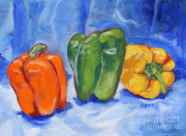 Peppers Poster featuring the painting Three Peppers by Jan Bennicoff