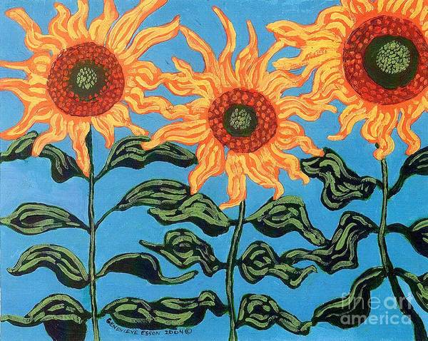 Sunflower Poster featuring the painting Three Sunflowers IIi by Genevieve Esson