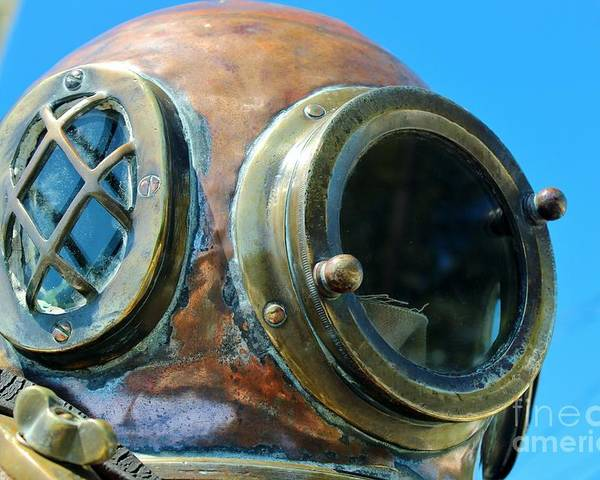 Dive Helmet Poster featuring the photograph Thru The Peep Hole by Rene Triay Photography