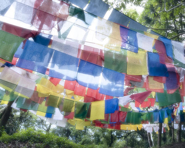 Horizontal Poster featuring the photograph Tibetan Buddhist Prayer Flags by Glen Allison