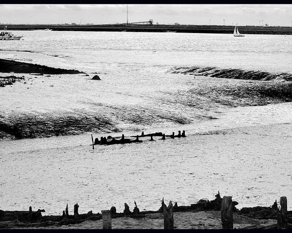 Monochrome Poster featuring the photograph Tides On The Wane. by Terence Davis