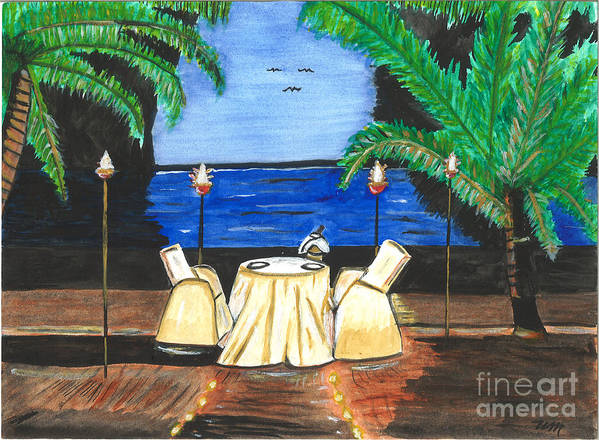 Sunset Poster featuring the painting Tiki Light Dining by Sea Sons Home and Life