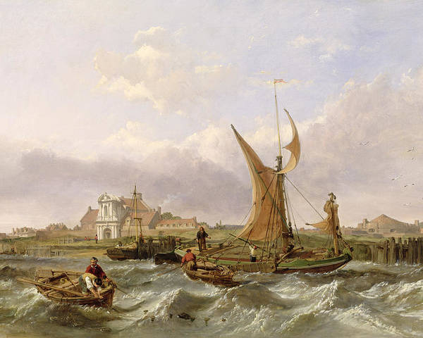 Tilbury Poster featuring the painting Tilbury Fort - Wind Against The Tide by William Clarkson Stanfield