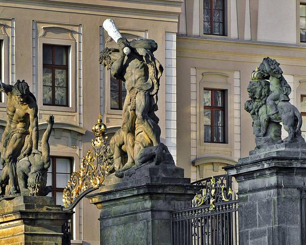 Prague Poster featuring the photograph Titans Battling Outside Prague Castle by Christine Till