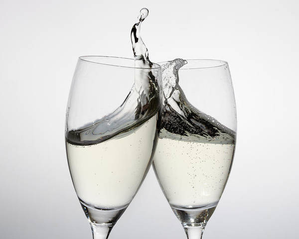 Horizontal Poster featuring the photograph Toasting With Two Glasses Of Champagne by Dual Dual