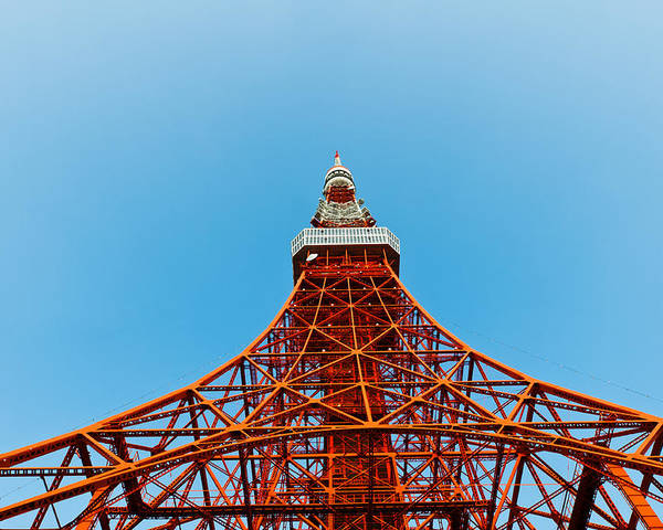 Architecture Poster featuring the photograph Tokyo Tower Faces Blue Sky by Ulrich Schade