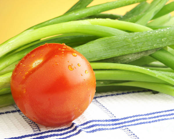 Tomato Poster featuring the photograph Tomato And Green Onions by Blink Images