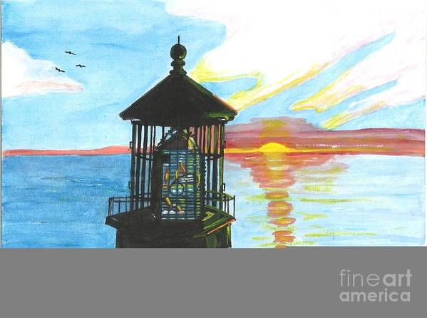 Sunset Poster featuring the painting Top Of A Lighthouse At Sunset by Sea Sons Home and Life