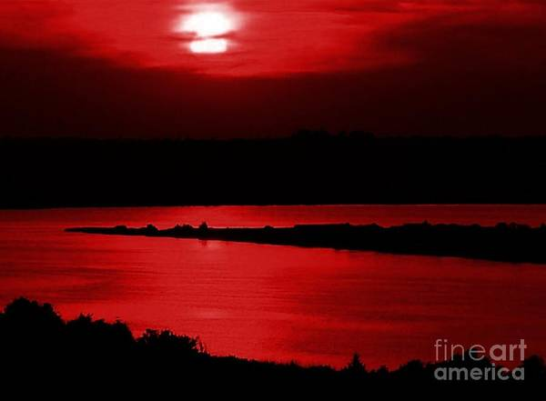Sunset Poster featuring the photograph Topsail Island Blood-red Sunset by Julie Dant