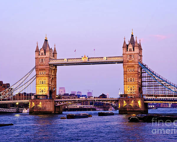 Tower Poster featuring the photograph Tower Bridge In London At Dusk by Elena Elisseeva
