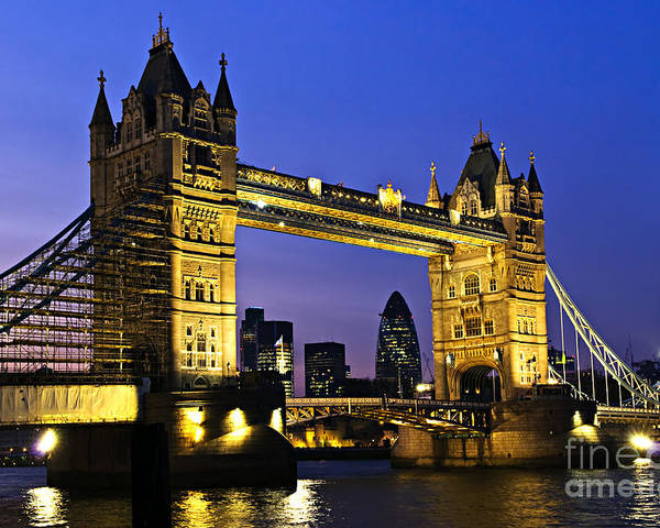 Tower Poster featuring the photograph Tower Bridge In London At Night by Elena Elisseeva