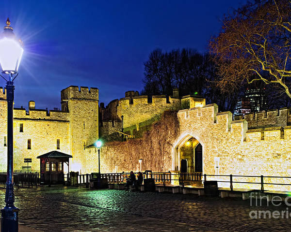 Tower Poster featuring the photograph Tower Of London Walls At Night by Elena Elisseeva