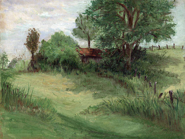 Landscape Poster featuring the painting Tractor Shed by Ethel Vrana