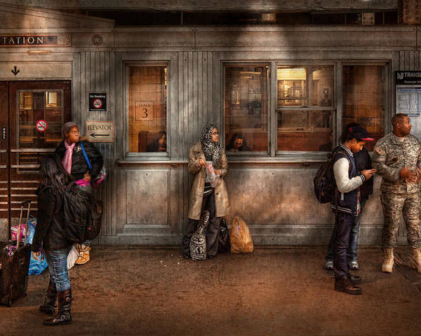 Train Poster featuring the photograph Train - Station - Waiting For The Next Train by Mike Savad