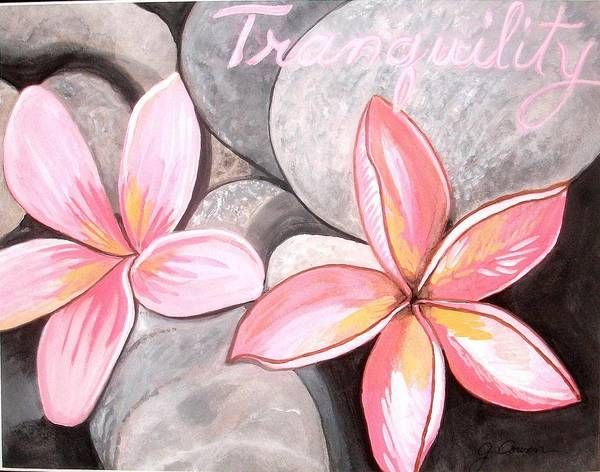 Pink Flowers Poster featuring the painting Tranquility by Gail Cowan