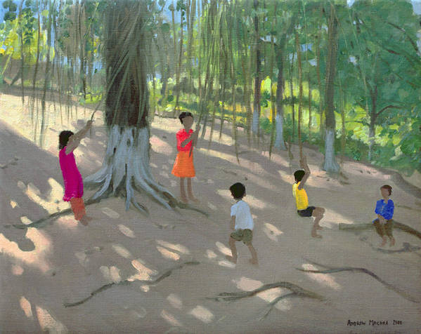 Swinging Poster featuring the painting Tree Swing by Andrew Macara