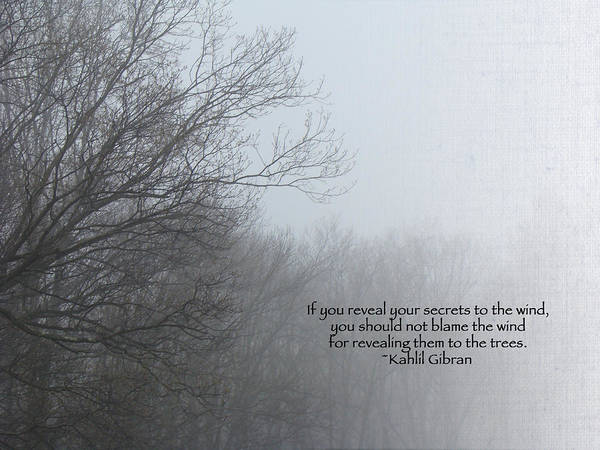Trees And Fog And Khalil Gibran Quote Poster By Mother Nature