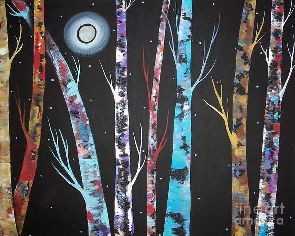 Trees On Black Poster featuring the painting Trees And Moon by Karla Gerard