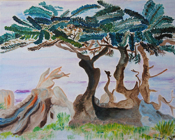 Trees Poster featuring the painting Trees By The Sea by Meryl Goudey