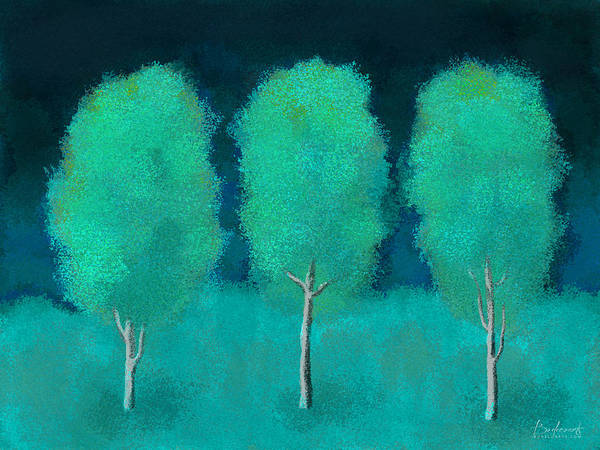 Trees Poster featuring the digital art Trees In Triplicate Moonlit Winter by Robin Lewis