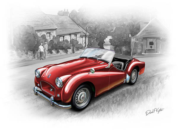 Triumph Poster featuring the painting Triumph Tr-2 Sports Car In Red by David Kyte