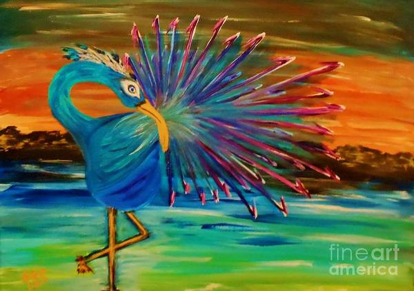 Poster featuring the painting Tropical Peacock by Marie Bulger