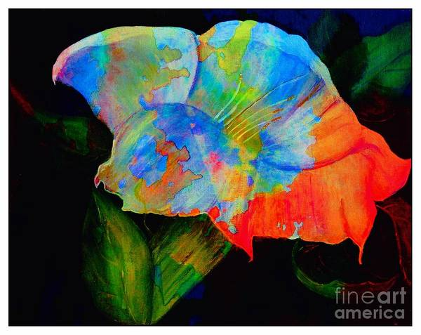 Trumpet Flower Poster featuring the digital art Trumpet With Watercolor Overlay by Barbara Griffin