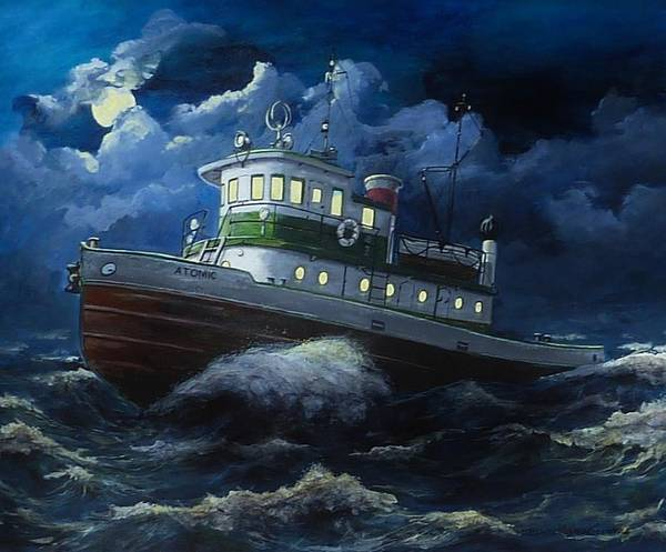 Lake Paintings Poster featuring the painting Tug Boat On Rough Water by Virginia Sonntag