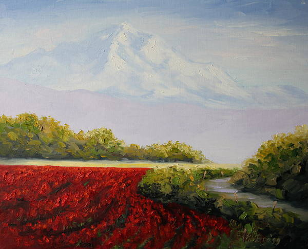 Red Tulips Poster featuring the painting Tulip Fields Below Mt. Baker by Becky Bragg