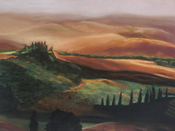 Tuscan Hills Poster featuring the painting Tuscan Hills by Elise Okrend