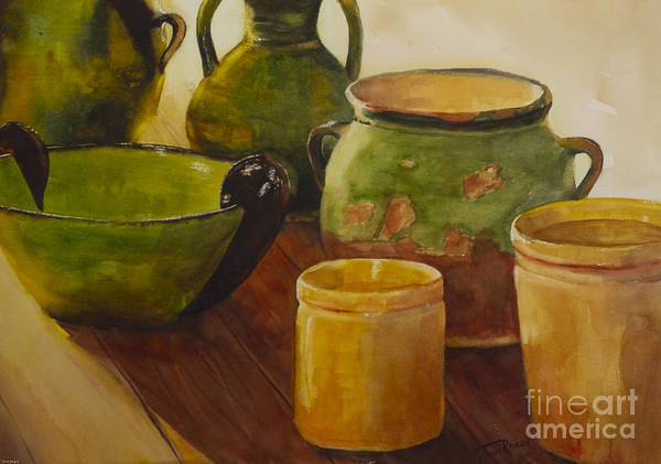Watercolor Poster featuring the painting Tuscan Vases And Pots by Toni Roark