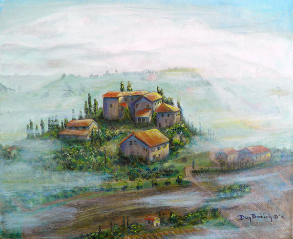 Landscape Poster featuring the painting Tuscany Sun-Break by Dan Bozich