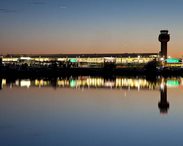 Air Traffic Control Tower Poster featuring the photograph Twilight At Anchorage International Airport by Tim Grams