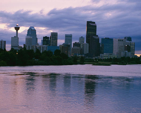 North America Poster featuring the photograph Twilight On The Bow River And Calgary by Michael S. Lewis