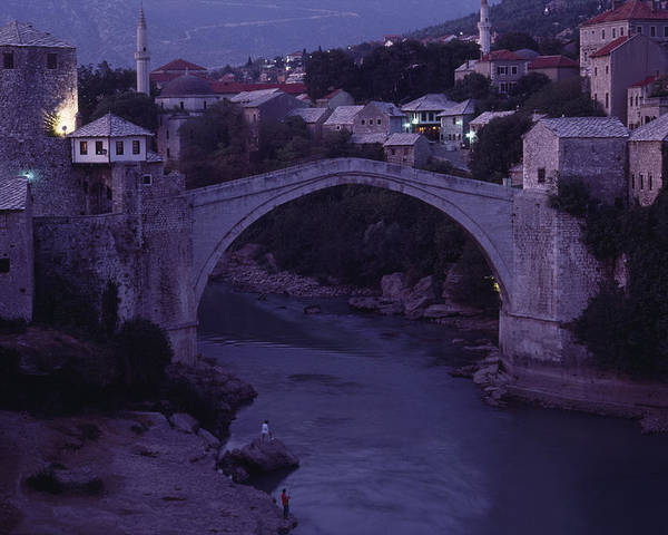 Europe Poster featuring the photograph Twilight View Of A 15th-century Bridge by James L. Stanfield