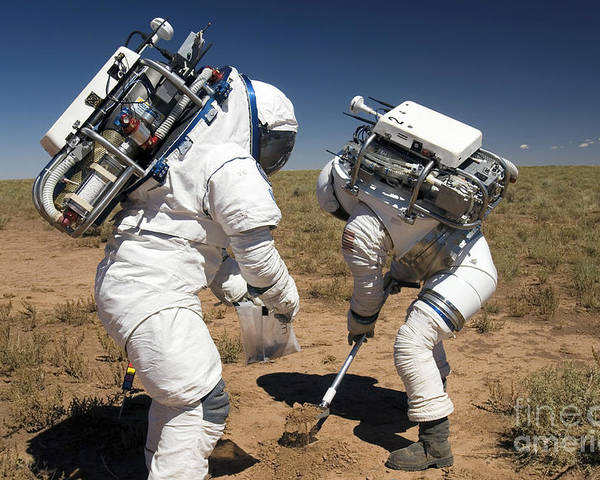 Activity Poster featuring the photograph Two Astronauts Collect Soil Samples by Stocktrek Images