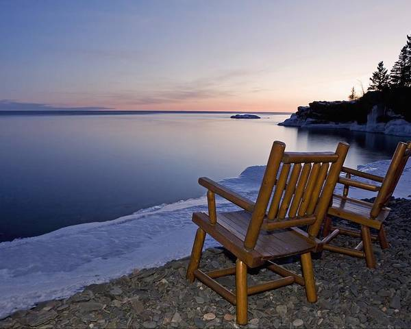 Sunset Poster featuring the photograph Two Chairs At Waters Edge Looking Out by Susan Dykstra