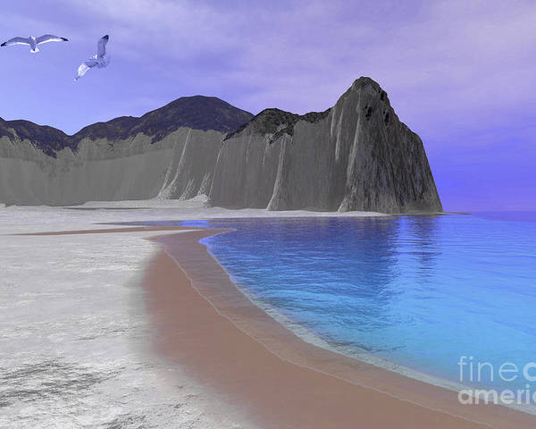Beach Poster featuring the digital art Two Seagulls Fly Over A Beautiful Ocean by Corey Ford