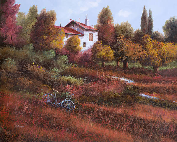 Bike.wood Poster featuring the painting Una Bicicletta Nel Bosco by Guido Borelli
