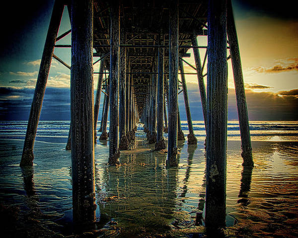 Sunset Poster featuring the photograph Under The Boardwalk by Chris Lord