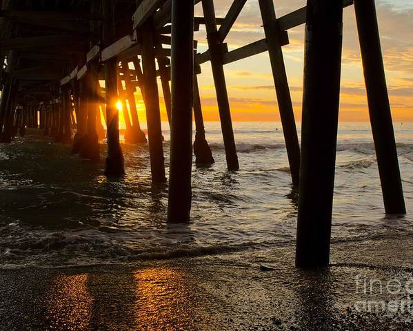 Sunset Poster featuring the photograph Under The Pier by Athena Lin