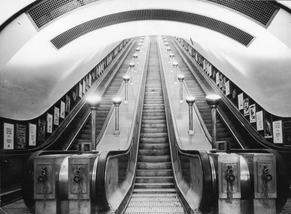 Horizontal Poster featuring the photograph Underground Escalator by Archive Photos