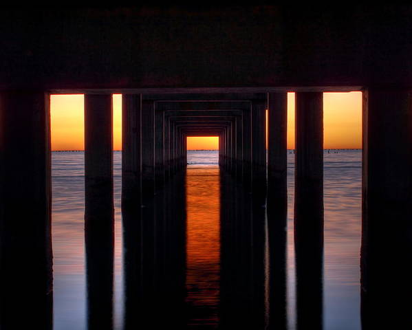Fountainblu Poster featuring the photograph Underside Of The Pier by Pixel Perfect by Michael Moore
