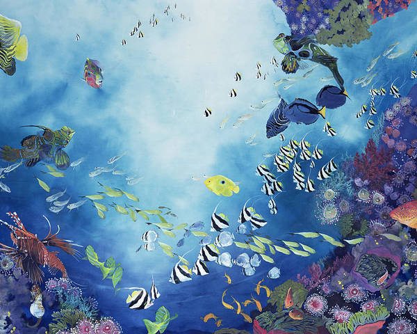Ocean; Tropical; Coral; Reef; Exotic; Colourful; Striped; Sea; Life; Aquatic; Marine; Fish; Swimming; Colorful Poster featuring the painting Underwater World IIi by Odile Kidd