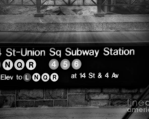 Union Square Poster featuring the photograph Union Square Subway Station Bw by Susan Candelario