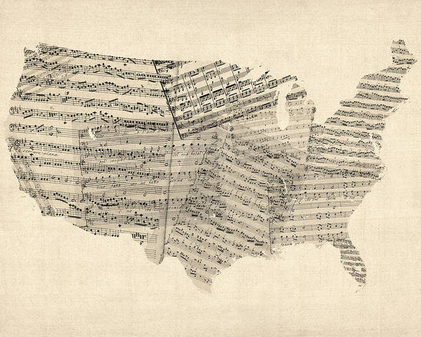 United States Map Poster featuring the digital art United States Old Sheet Music Map by Michael Tompsett