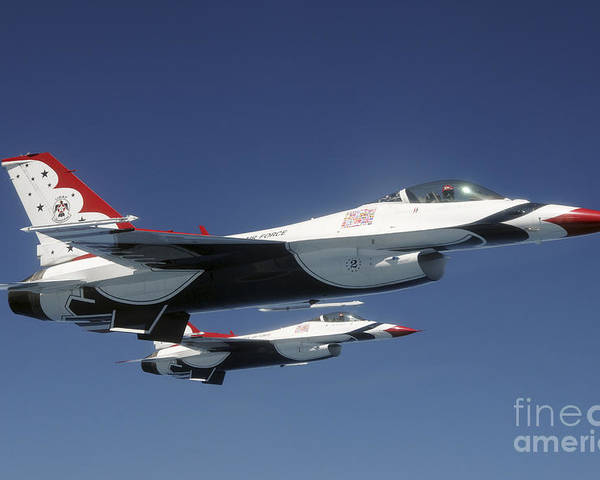 Thunderbirds Poster featuring the photograph U.s. Air Force F-16 Thunderbirds by Stocktrek Images
