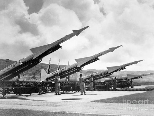1965 Poster featuring the photograph U.s. Army Missiles, C1965 by Granger